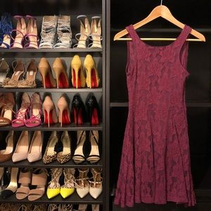 Dresses & Skirts - Burgundy Lace Skater Dress